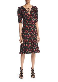 Michael Kors Collection V-Neck Rose-Print Silk Georgette Dress