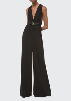 Michael Kors Collection Wide-Leg Draped Jersey Jumpsuit