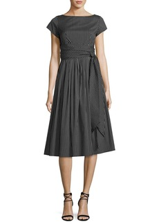 Michael Kors Collection Windowpane Check Poplin Belted Midi Dress