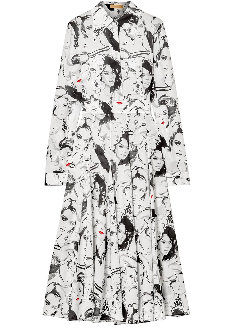 Michael Kors Collection Woman + David Downton Printed Silk Crepe De Chine Midi Dress White
