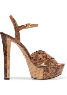 Michael Kors Collection Woman Addy Elaphe Platform Sandals Tan