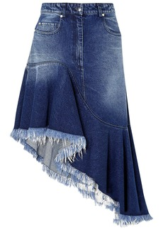 Michael Kors Collection Woman Asymmetric Frayed Faded Denim Skirt Mid Denim