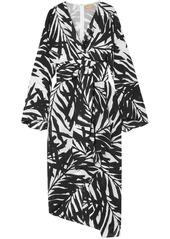 Michael Kors Collection Woman Asymmetric Printed Silk Crepe De Chine Dress Off-white