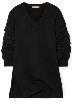 Michael Kors Collection Woman Asymmetric Ruched Cashmere Sweater Black