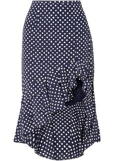 Michael Kors Collection Woman Asymmetric Ruffled Polka-dot Silk-crepe Skirt Navy