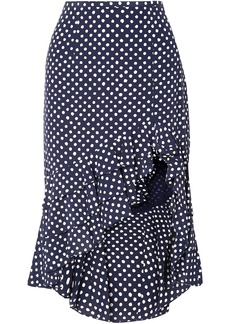 Michael Kors Collection Woman Asymmetric Ruffled Polka-dot Silk-crepe Skirt Navy