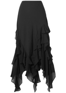 Michael Kors Collection Woman Asymmetric Ruffled Silk-chiffon Skirt Black