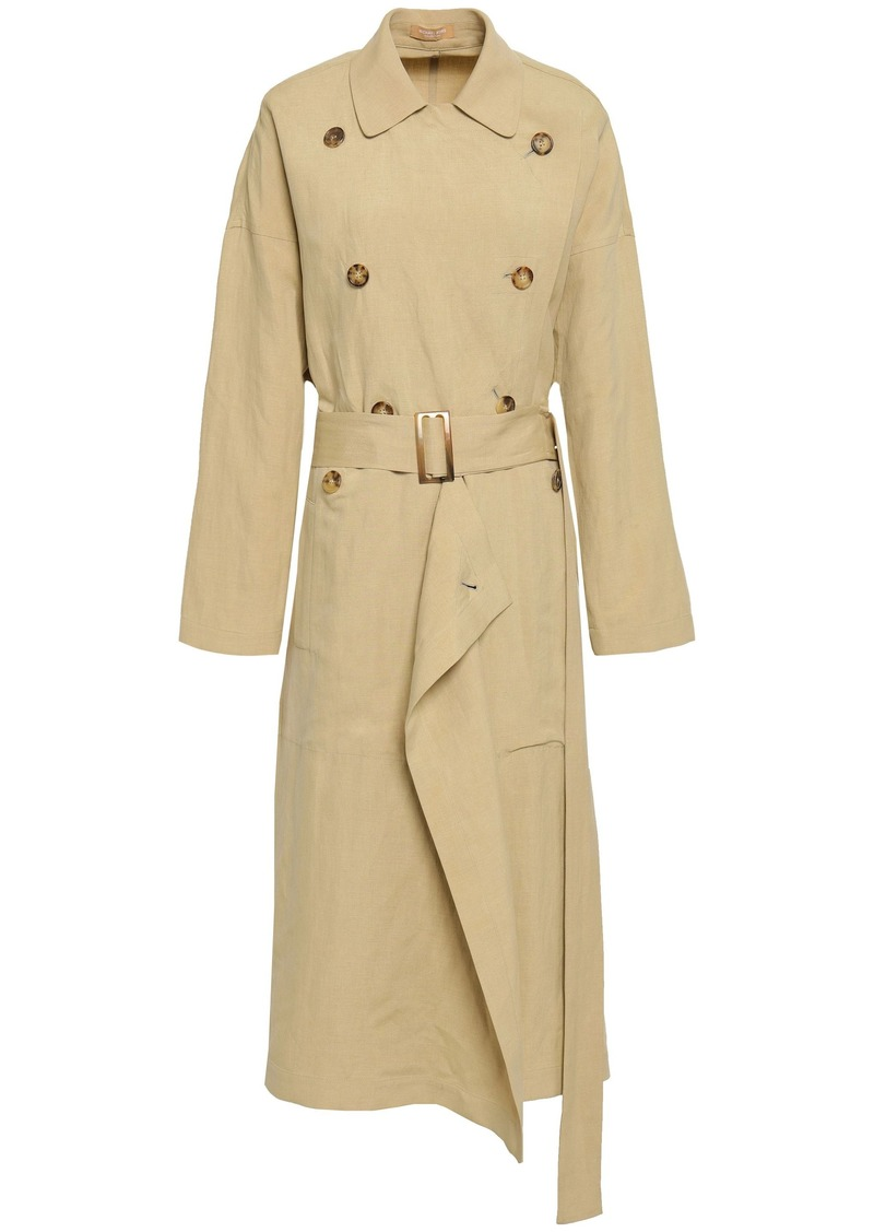 Michael Kors Collection Woman Belted Draped Linen And Silk-blend Trench Coat Sand