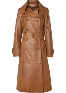Michael Kors Collection Woman Belted Leather Trench Coat Brown