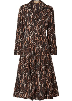 Michael Kors Collection Woman Belted Printed Silk Crepe De Chine Midi Dress Black
