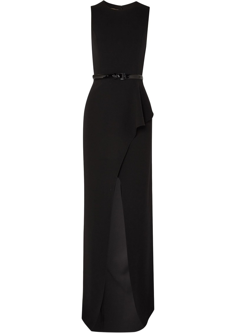 Michael Kors Collection Woman Belted Ruffled Wool-blend Crepe Gown Black