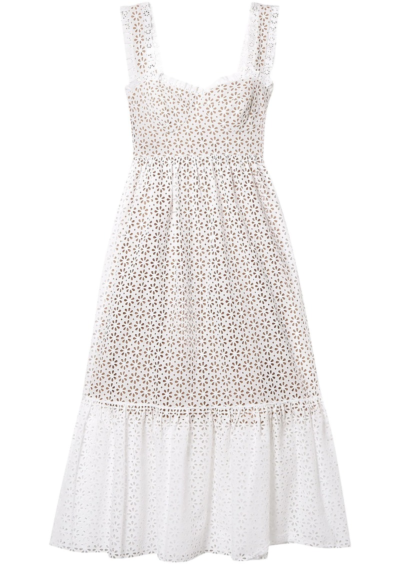Michael Kors Collection Woman Broderie Anglaise Cotton Midi Dress White