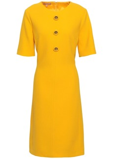 Michael Kors Collection Woman Button-embellished Wool-blend Crepe Dress Saffron