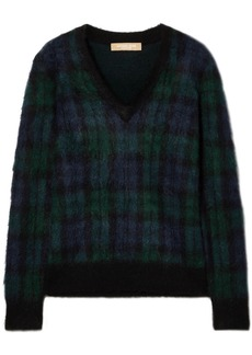 Michael Kors Collection Woman Calf Hair-appliquéd Checked Mohair-blend Sweater Navy