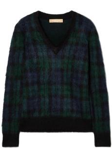 Michael Kors Collection Woman Calf Hair-appliquéd Checked Mohair-blend Sweater Navy