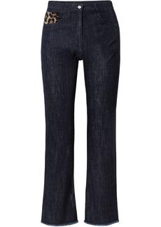Michael Kors Collection Woman Calf Hair-trimmed High-rise Straight-leg Jeans Dark Denim