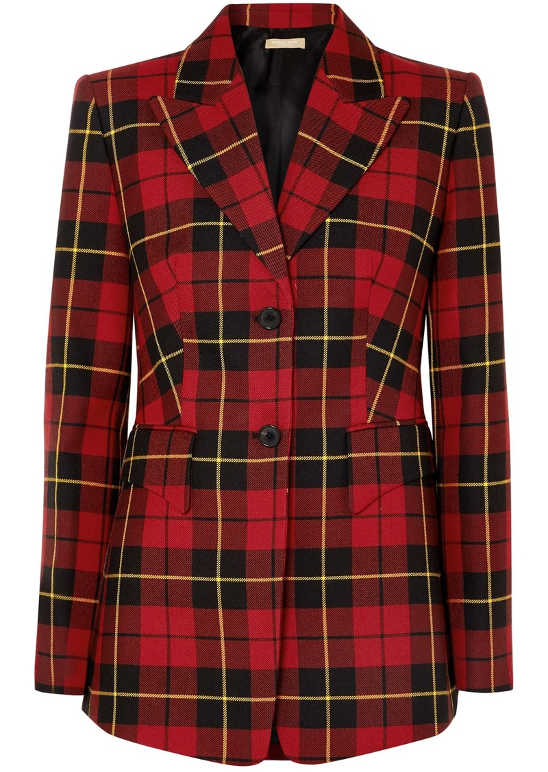 Michael Kors Collection Woman Checked Wool-twill Blazer Red