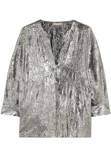 Michael Kors Collection Woman Crinkled Silk-blend Lamé Blouse Silver