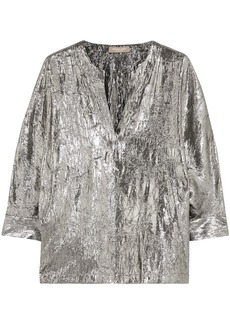 Michael Kors Collection Woman Crinkled Silk-blend Lamé Blouse Silver