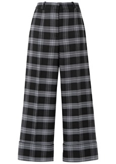 Michael Kors Collection Woman Cropped Checked Wool-blend Straight-leg Pants Black