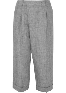 Michael Kors Collection Woman Cropped Linen Wide-leg Pants Gray