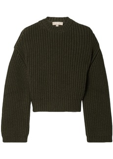 Michael Kors Collection Woman Cropped Ribbed Cashmere Sweater Army Green