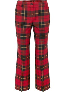 Michael Kors Collection Woman Cropped Tartan Wool Straight-leg Pants Red