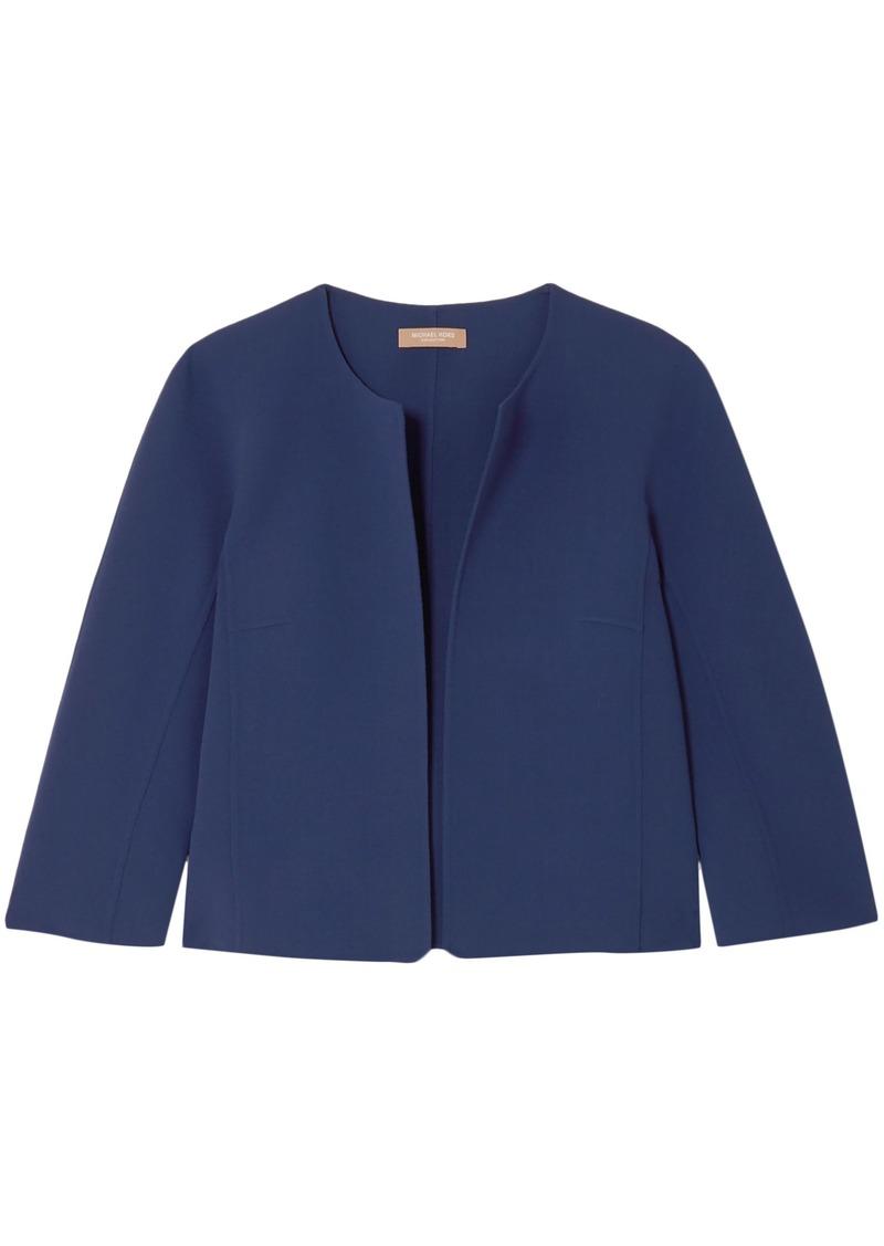 Michael Kors Collection Woman Cropped Wool-blend Crepe Jacket Indigo