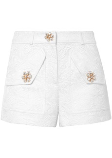 Michael Kors Collection Woman Crystal-embellished Cotton-blend Cloqué Shorts White