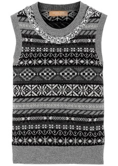 Michael Kors Collection Woman Crystal-embellished Jacquard-knit Cashmere Vest Gray