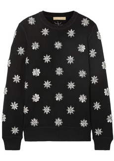 Michael Kors Collection Woman Crystal-embellished Knitted Sweater Black