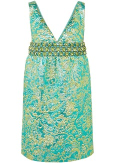 Michael Kors Collection Woman Crystal-embellished Metallic Brocade Mini Dress Turquoise