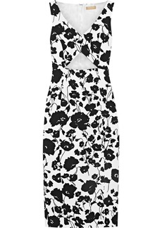 Michael Kors Collection Woman Cutout Floral-print Cotton And Silk-blend Matelassé Dress White