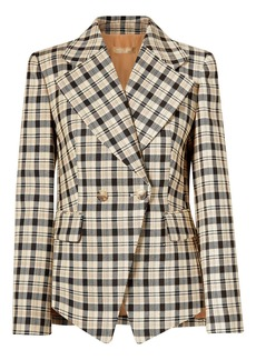 Michael Kors Collection Woman Double-breasted Checked Wool Blazer Beige