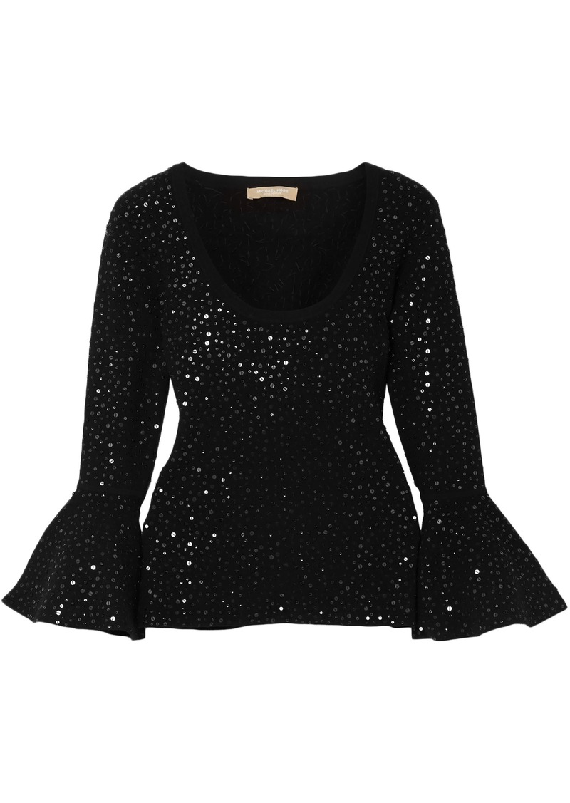 Michael Kors Collection Woman Embellished Stretch-knit Top Black