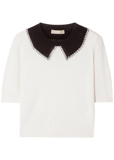 Michael Kors Collection Woman Embellished Two-tone Cashmere Sweater Ivory