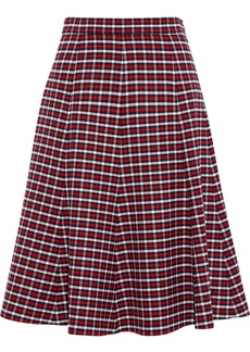 Michael Kors Collection Woman Flared Checked Wool-blend Skirt Multicolor