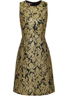 Michael Kors Collection Woman Flared Metallic Brocade Dress Gold