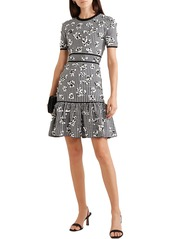 Michael Kors Collection Woman Floral-appliquéd Gingham Jacquard-knit Mini Dress Gray