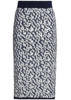 Michael Kors Collection Woman Floral-appliquéd Jacquard-knit Pencil Skirt Navy