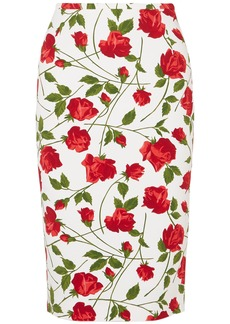 Michael Kors Collection Woman Floral-print Cady Pencil Skirt White