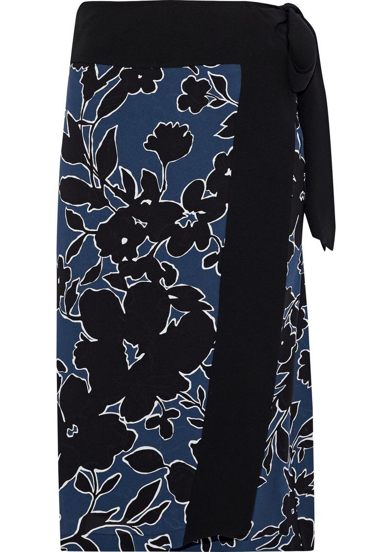 Michael Kors Collection Woman Floral-print Silk-crepe Wrap Skirt Navy