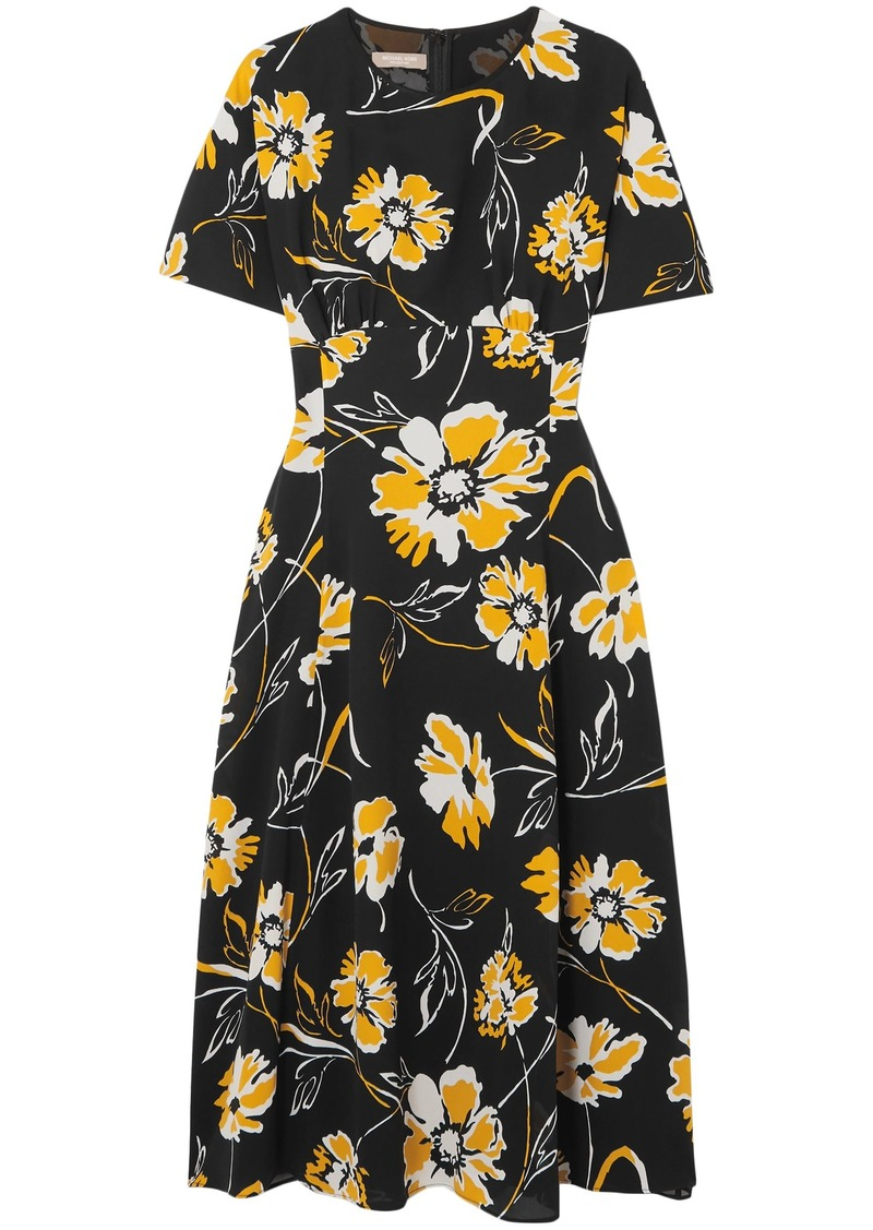 Michael Kors Collection Woman Floral-print Silk Dress Black