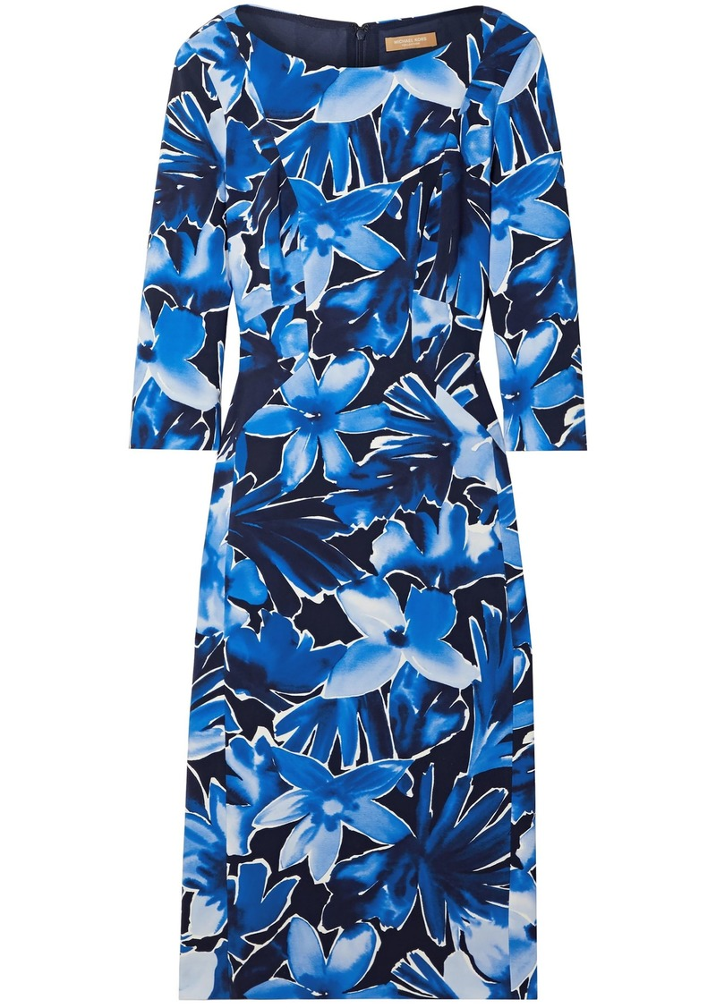 Michael Kors Collection Woman Floral-print Stretch-cady Dress Blue