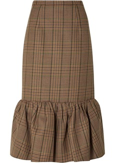 Michael Kors Collection Woman Fluted Prince Of Wales Checked Wool Midi Skirt Mushroom