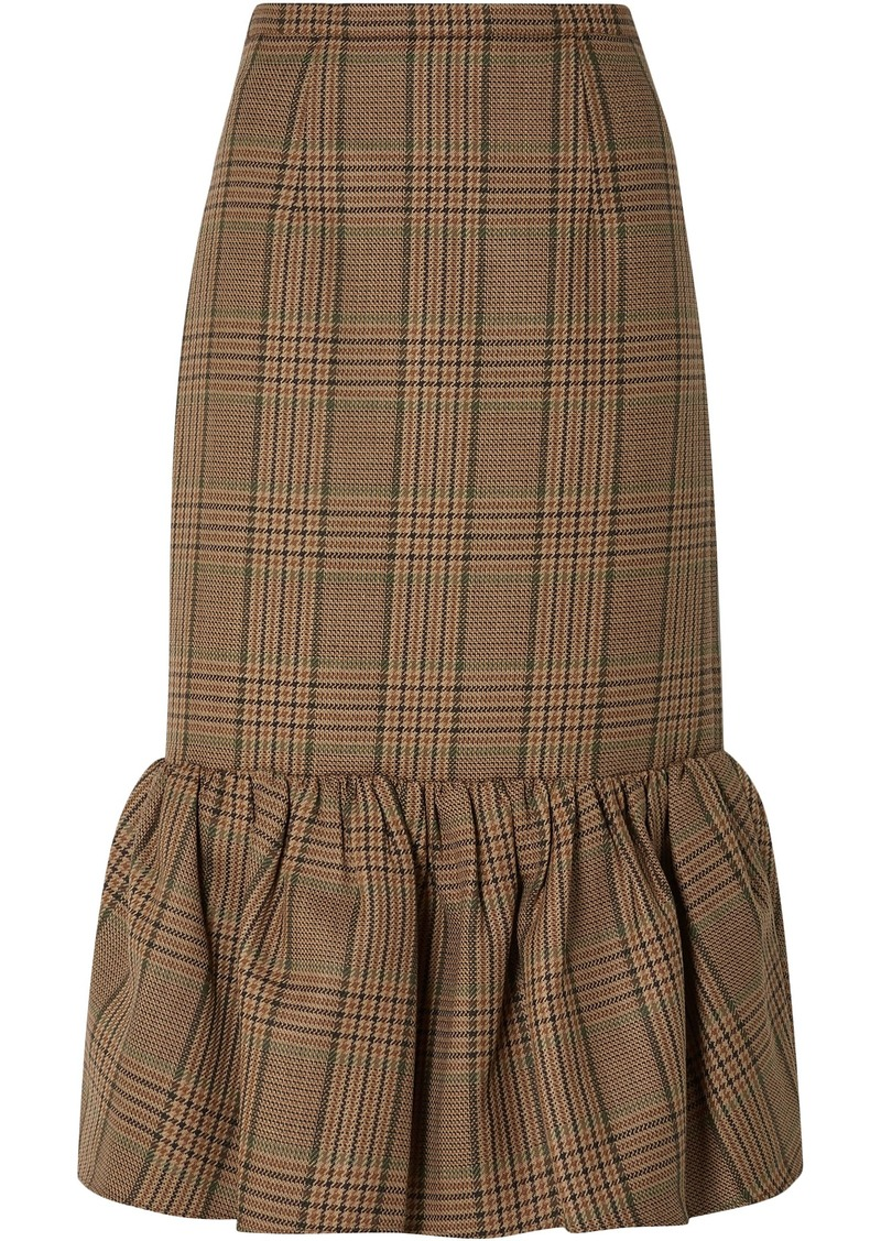 Michael Kors Collection Woman Fluted Prince Of Wales Checked Wool Midi Skirt Mushroom
