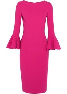 Michael Kors Collection Woman Fluted Stretch-wool Dress Fuchsia