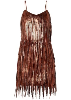 Michael Kors Collection Woman Fringed Metallic Leather Mini Dress Copper
