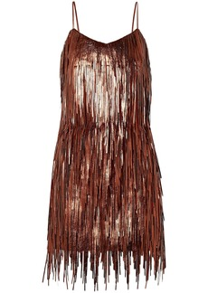 Michael Kors Collection Woman Fringed Metallic Leather Mini Slip Dress Copper