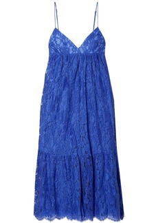 Michael Kors Collection Woman Gathered Cotton-blend Leavers Lace Midi Slip Dress Bright Blue